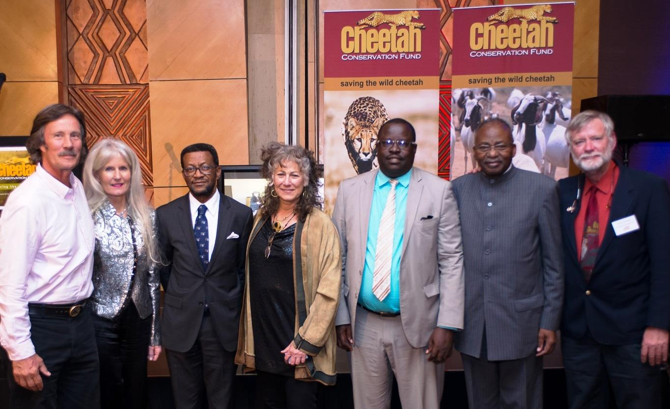 CCF' s 2014 Cheetah Conservationists of the Year, international photographers and film makers (from left) Jonathon and Angela Scott, 2014 Cheetah Conservation Educator of the Year, Professor Tjama Tjivikua, Founding Rector, Polytechnic of Namibia, Dr. Laurie Marker, Founder/ Executive Director, Cheetah Conservation Fund, The Honorable Minister Uahekua Herunga, Minister of Environment and Tourism, Ambassador Peter Katjivivi, Dr. Bruce Brewer, General Manager, CCF. © Cheetah Conservation Fund.