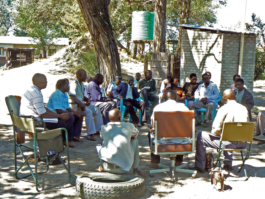 A range of stakeholders meet to discuss issues at the Mudumu North and South complexes.