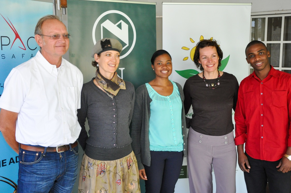 Photo: Peter Pack, Nedbank representative Jacky Tjivikua – Manager: Go Green, Hazel Milne and the Eco Awards Assessor Kavenaa Tjiworo.