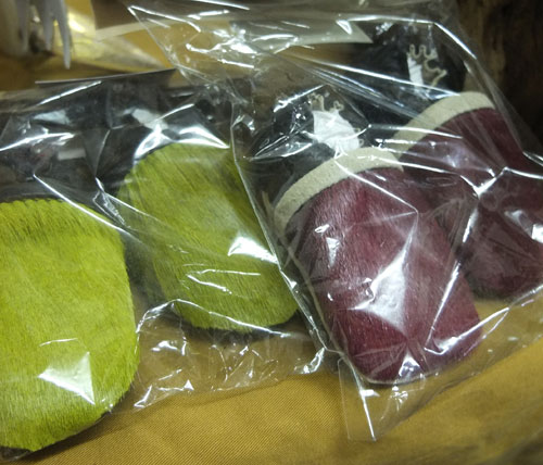 Colourful leather slippers for children