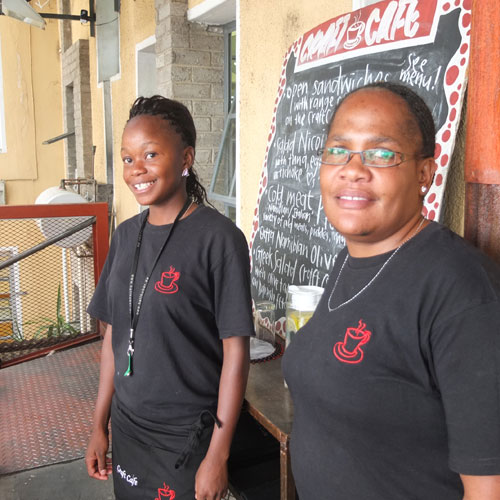 Kavee Mieze and Roswitha Kaviua are waitresses at the Craft Café.