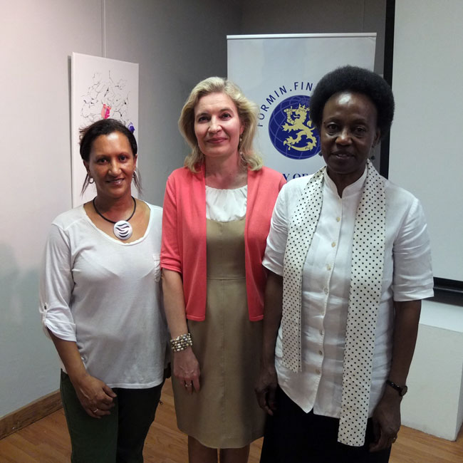 The women at the centre: From left: Shareen Thude, Ambassador of Finland Anne Saloranta and Namibia Craft Centre Chairperson Ms Gida Sekandi