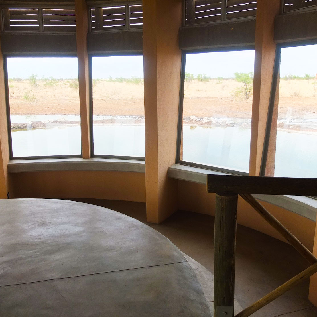 The groundfloor of the hide looks directly onto the waterhole - allowing a unique game viewing experience. Olifantsrus. Photo ©Jana-Mari Smith