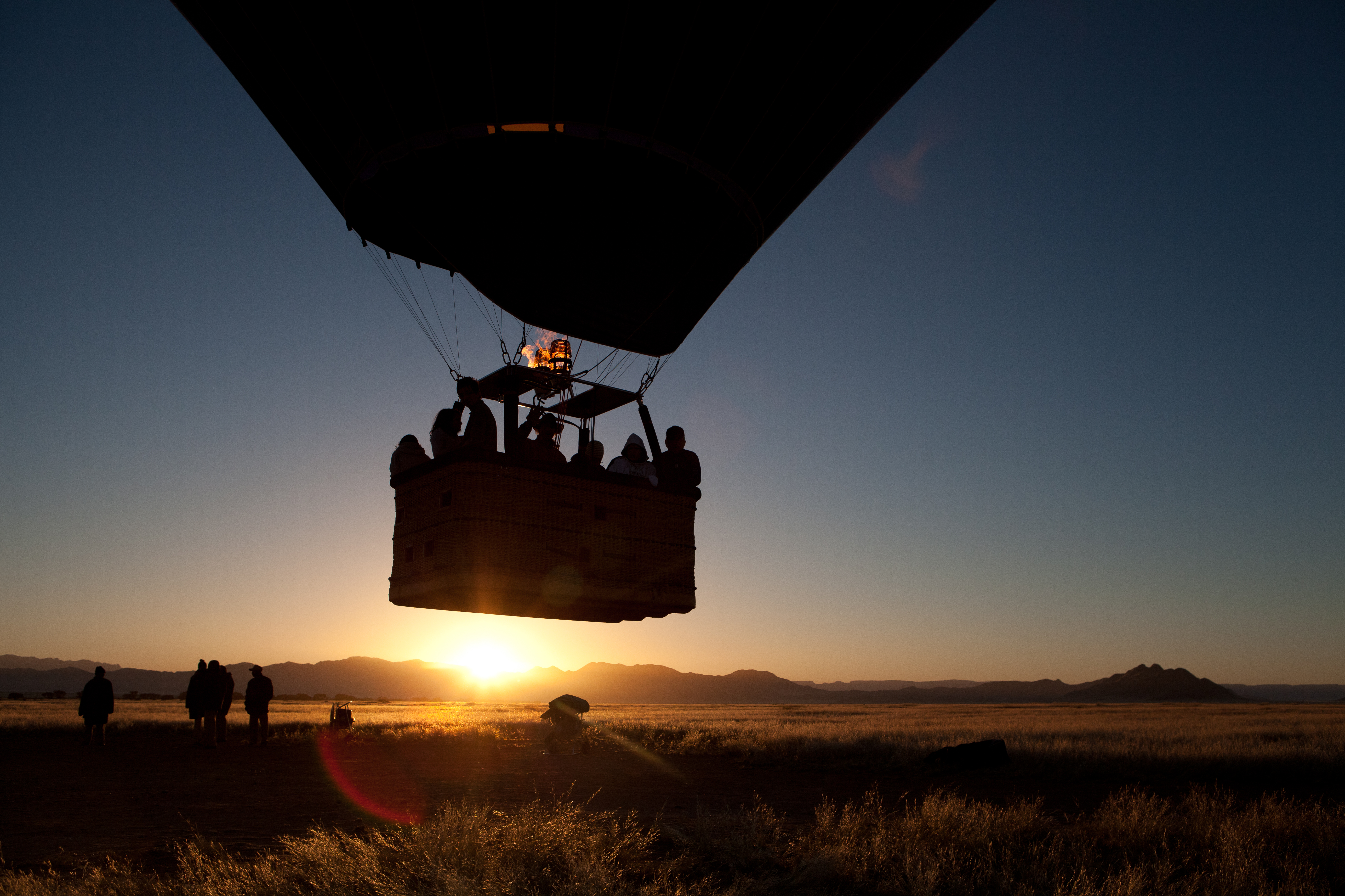 Love is flying over the desert in a hot air balloon