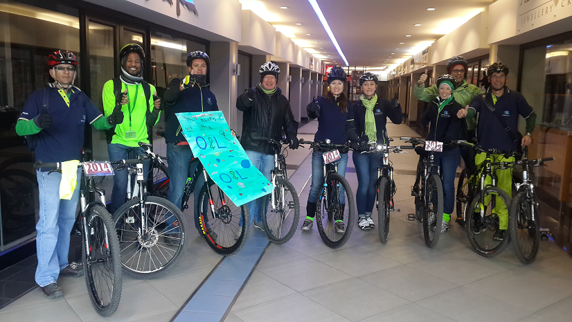 OLC Enviro Challenge 2014: O&L Centre Employees braved the cold on the morning of June 6th to cycle to work in an effort to create awareness for the O&L Environmental Week and reduce their carbon footprint. Fltr: Giovanni Baumann; Stefanus Gariseb; Martin Theron; Sven Thieme – O&L Executive Chairman; Patricia Hoeksema; Amanda van Zyl; Anja Becker; Armin Wieland; and Martin Krafft.