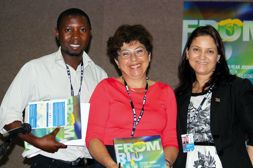 Samson Mulonga of SPAN, Monique Barbut of the ˝EF and Vanessa Groenewald of SPAN at the Rio+20 conference in Brazil