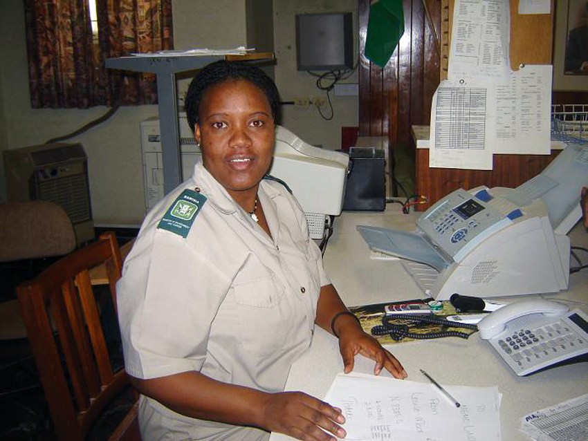 Revenue receiver Linda Namginga at the Okaukuejo front office