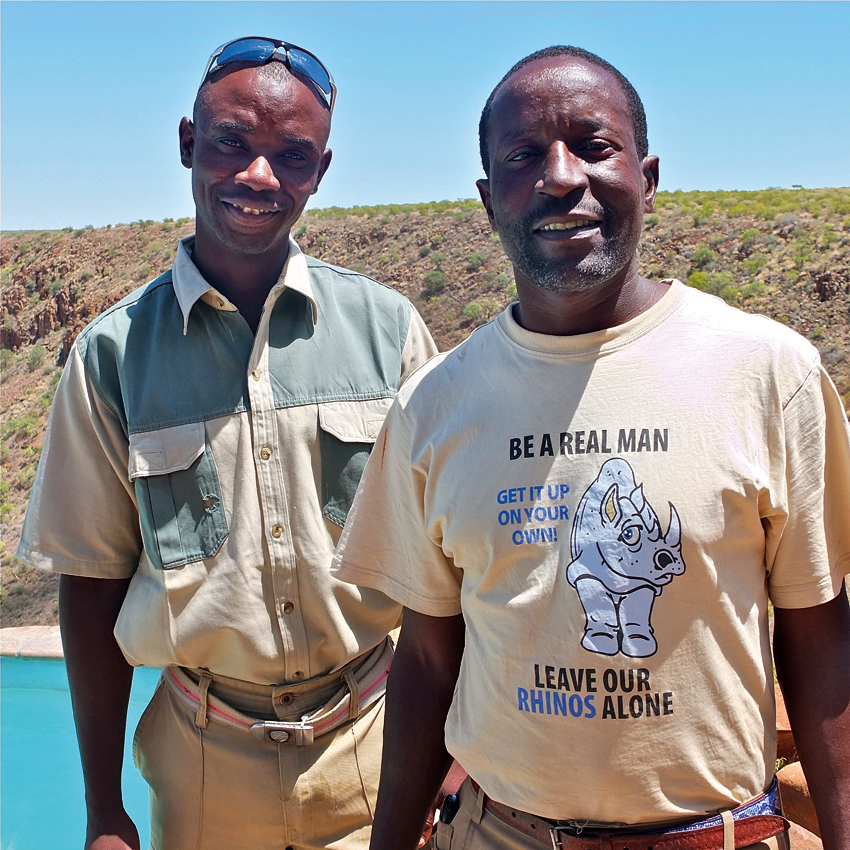 SRT trained guides, Barman Guim and Lazarus Mbahee