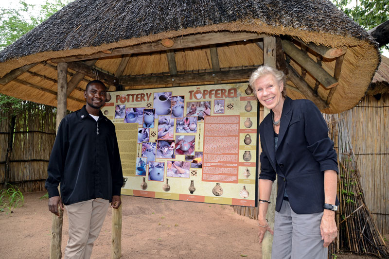 Antje Otto at the Namushasha Heritage Centre information board she helped to compile.