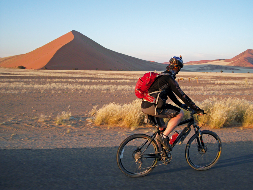 Cycling at Sossusvlei.
