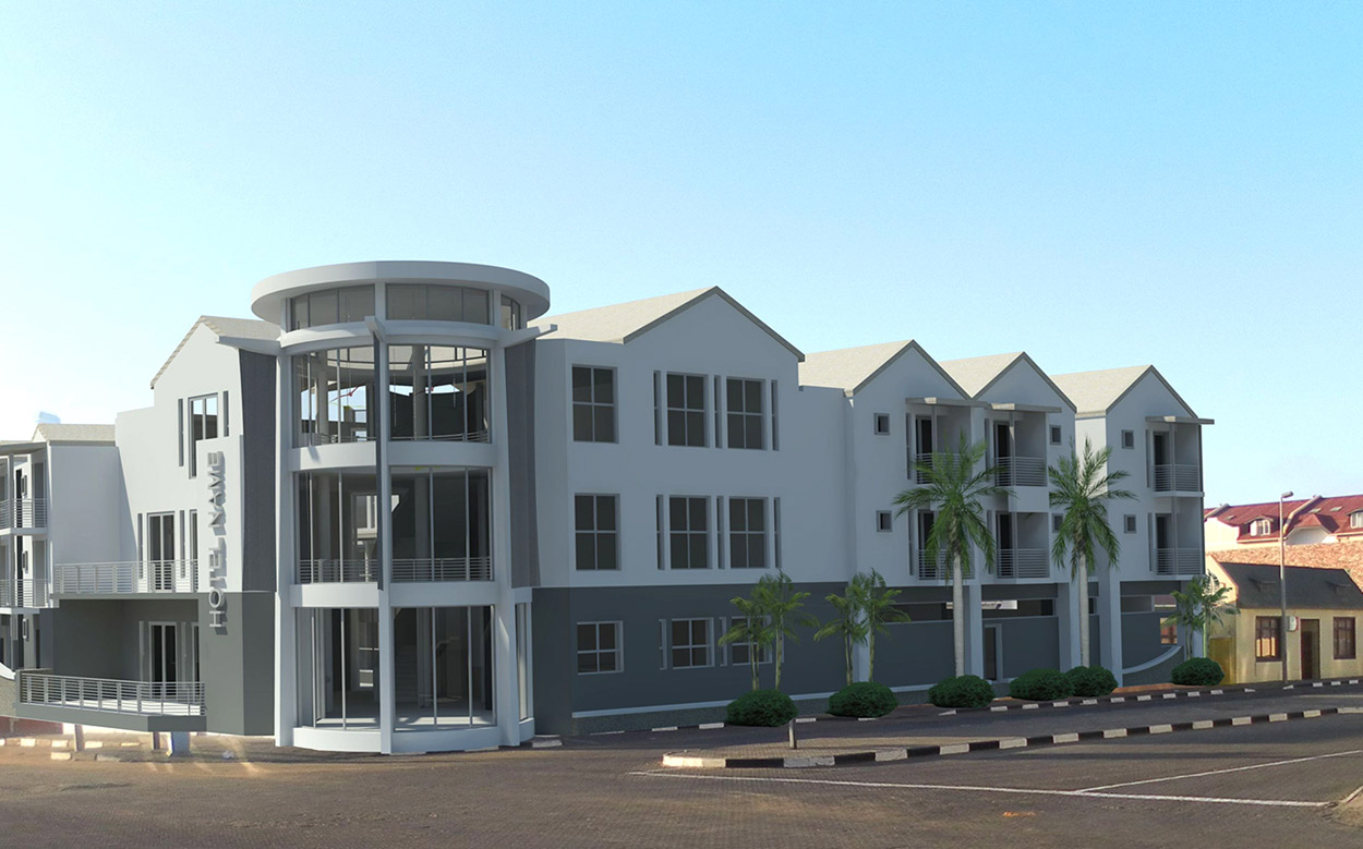 A new development in tourism. A new hotel in Swakopmund  (artist's visualisation above), financed by the Development Bank of Namibia, will create additional tourism revenue for Swakopmund, 32 permanent jobs and improve capacity for Namibian tourism.