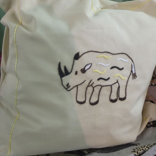 Hand-stiched pillow case