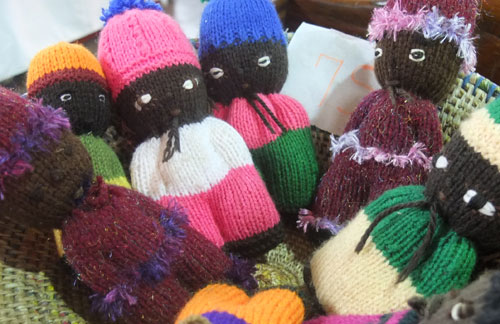 Knitted dolls.