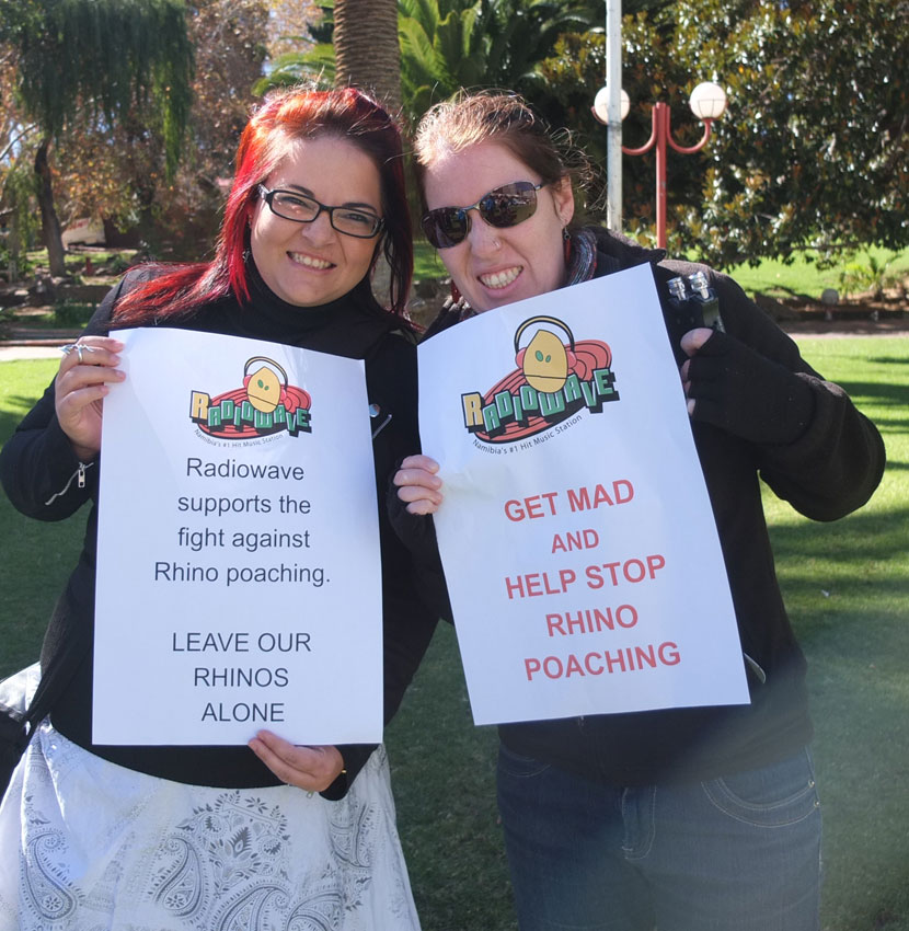 Radio Wave making thei voice heard in public - not just through air waves - Rhino protest at Zoo park. Photo ©Jana-Mari Smith