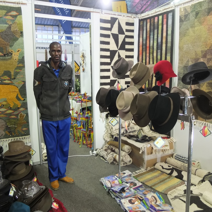 Hats and carpets - An exhibitor at the 2014 Namibia Tourism Expo.