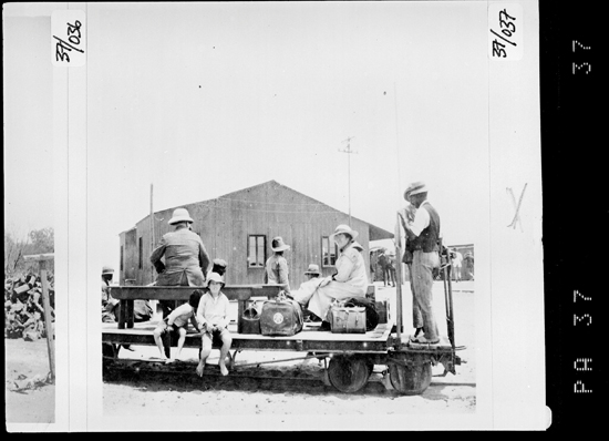 Horse-drawn trolley and passengers