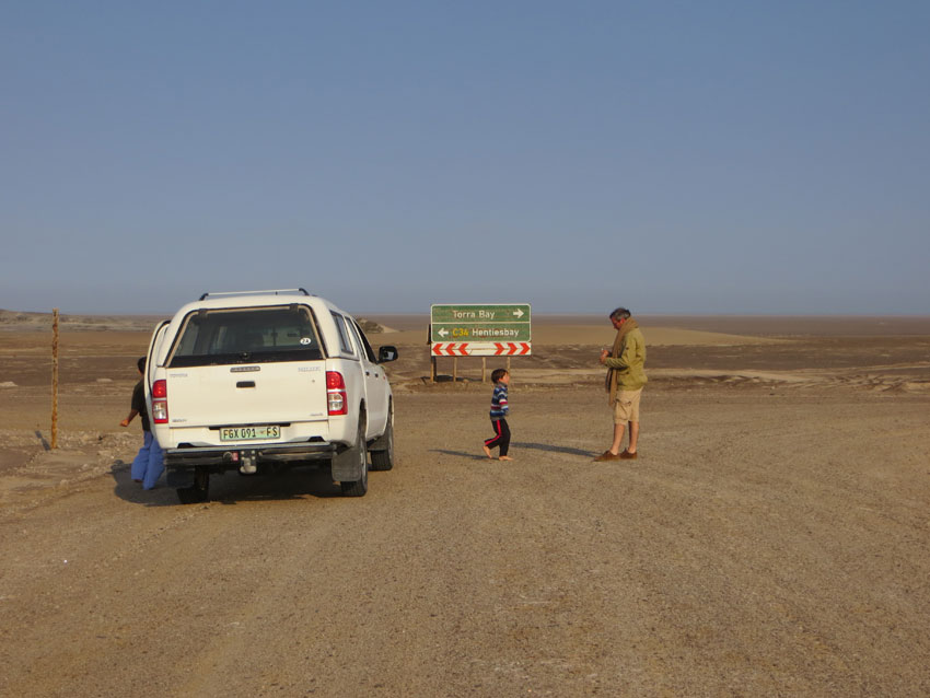 On the road in Namibia with kids.