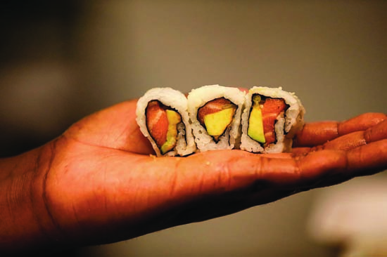 In these hand are...sushi