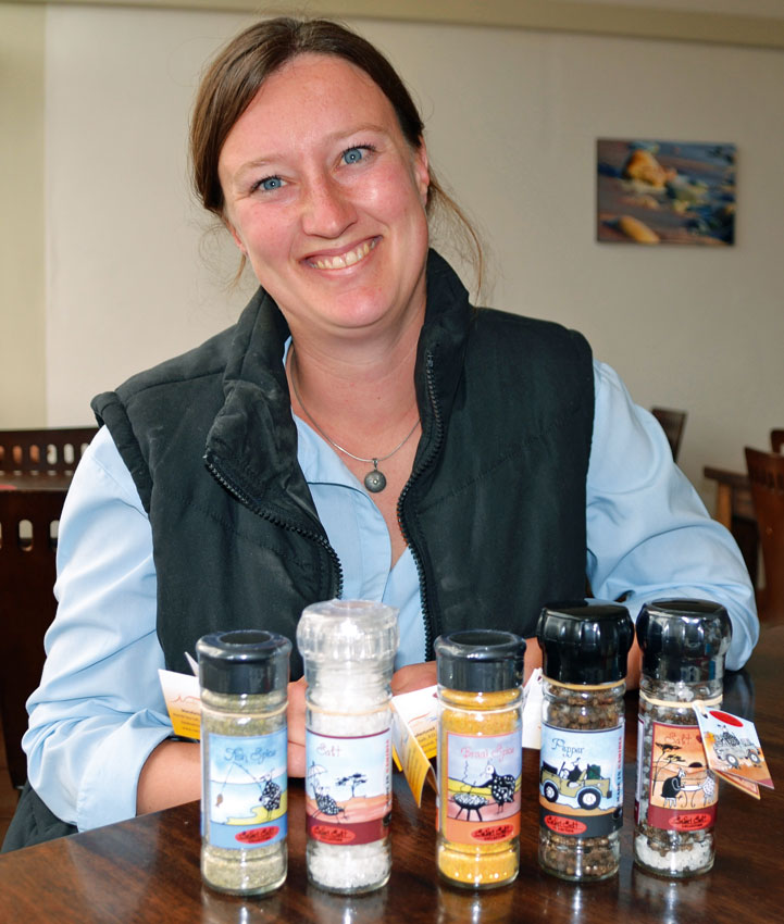 Katja Wittneben with some of her salt products. Photo ©Ron Swilling