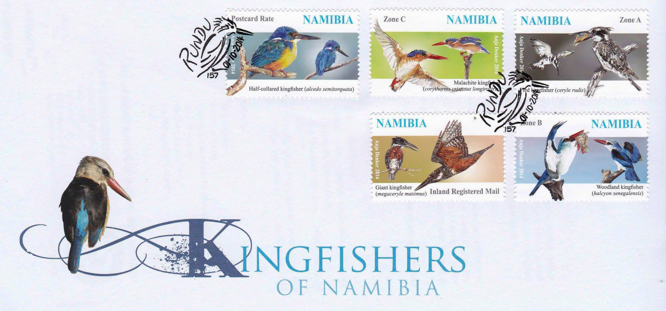 Latest postage stame issue - Kingfishers of Namibia. ©Anja Denker