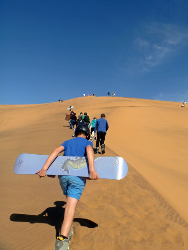 Steep sandy climb. Namibia. Photo By Simon - The Nomadic Diaries