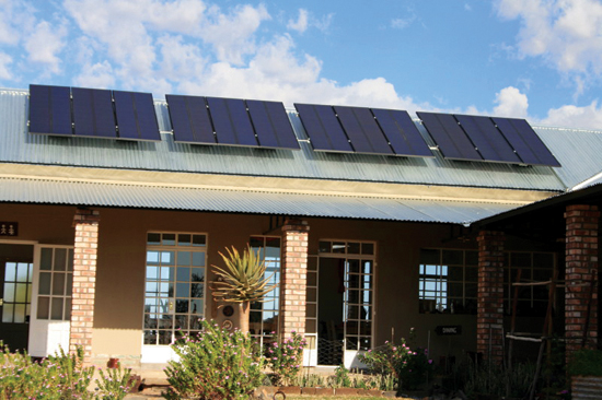Solar pannels on main building; mainly natural gardens; doors & windows suitable for air thoroughfare; appropriate building style, etc.