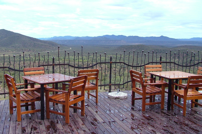 Upper outside deck at the Opuwo Country Hotel.