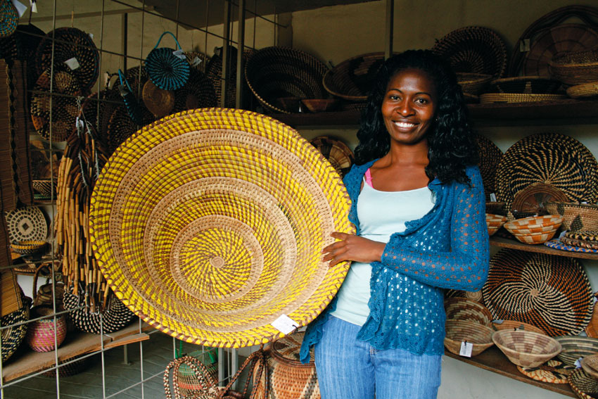 Buy a basket. A crafter in the Zambezi region. Tourists are avid buyers of traditional crafts. Photo ©Marita van Rooyen