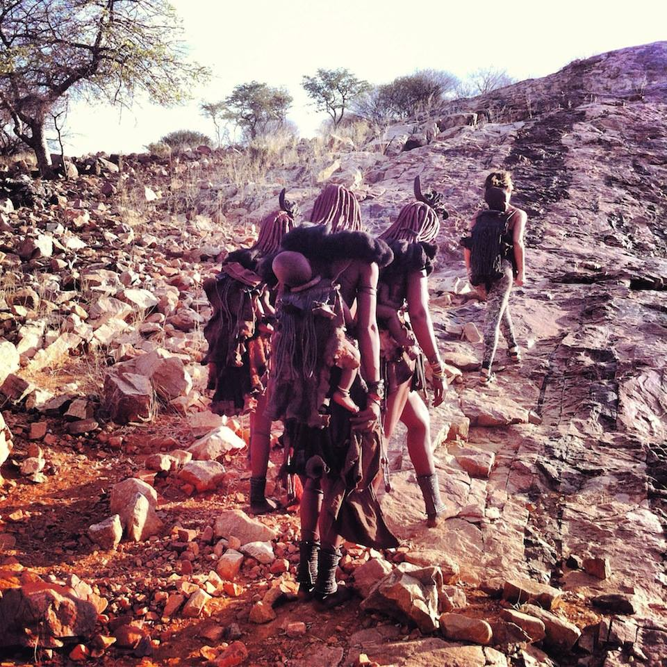 Alegra walking with Himba.