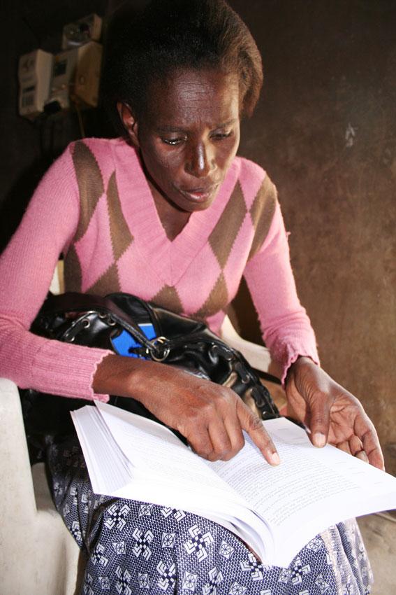 Woman reading ...